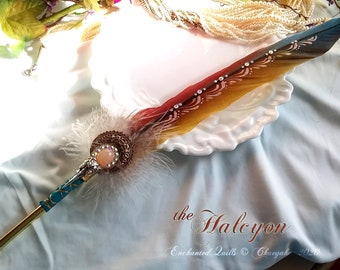 The HALCYON MOONSTONE Macaw Feather Quill Pen - Dip Pen