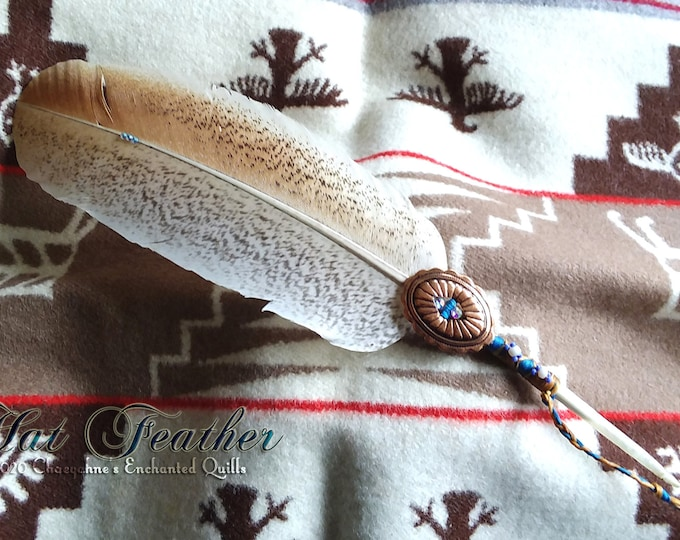 HAT FEATHER - Blue with Copper Concho & Beadwork