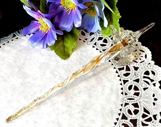 Vintage Ribbon Glass Stylus Pen - Gold