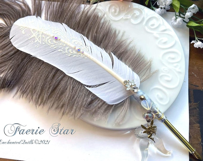 The FAERIE STAR Artisan Crafted Feather Quill Dip Pen - Septagram