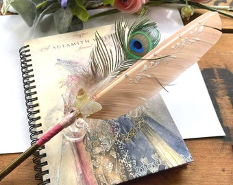 LITTLE BUTTERFLY Artisan Crafted Feather Quill Dip Pen & Journal