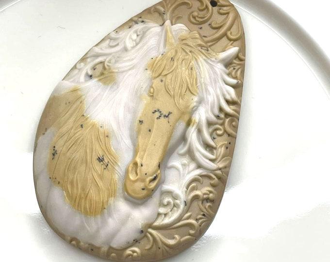 LOVELY Carved Ribbon Jasper PAINT HORSE Artisan Pendant