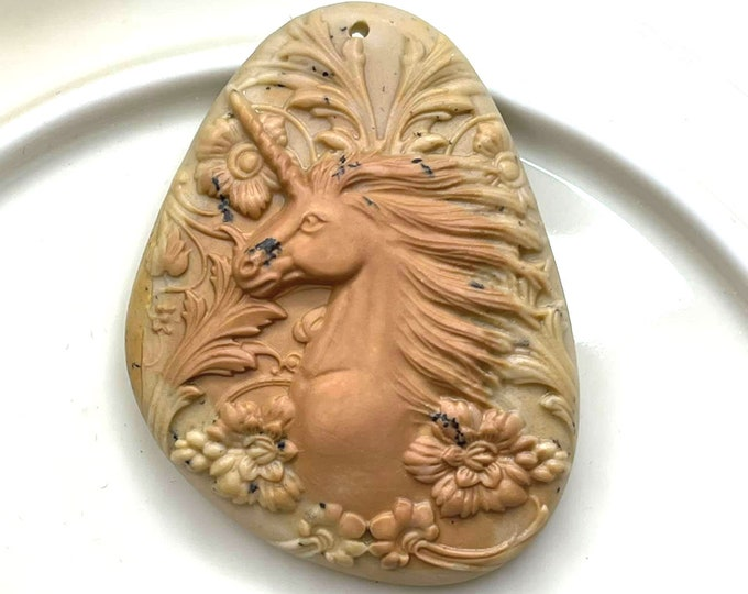 LOVELY Carved Ribbon Jasper UNICORN Artisan Pendant