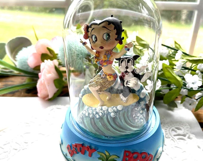 """Betty Boop """"Surfboard Betty"""" Figurine In Glass Dome - LE 1996"""