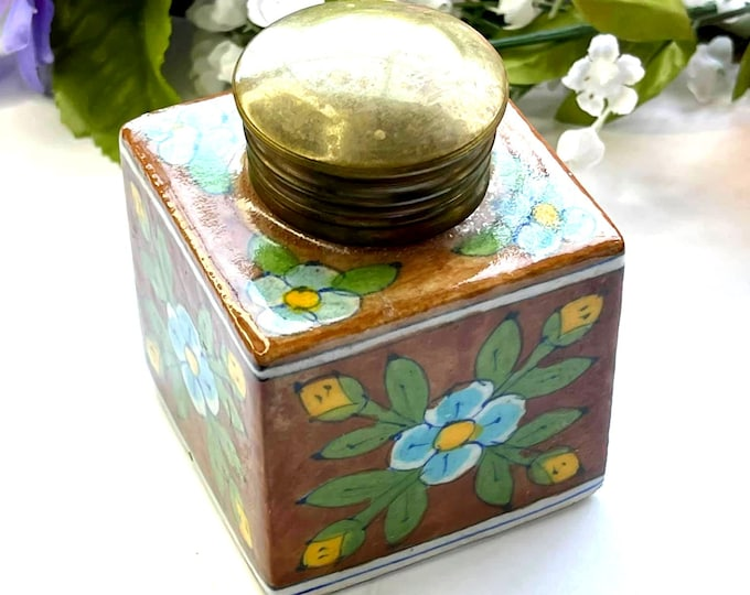 Antique Hand Painted FOLKART INKWELL