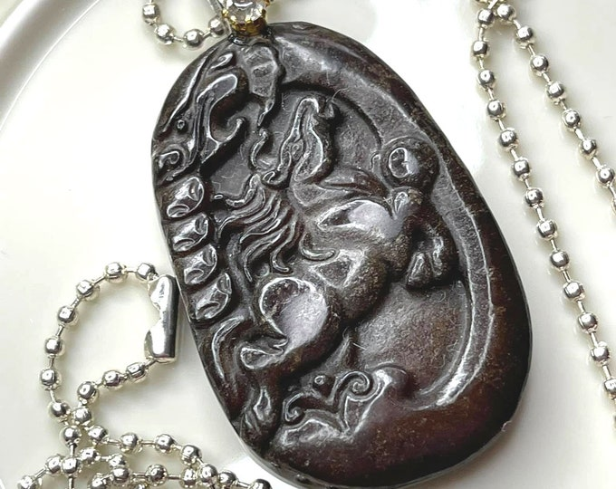 LOVELY Carved Chinese OLD JADE Horse Pendant Necklace