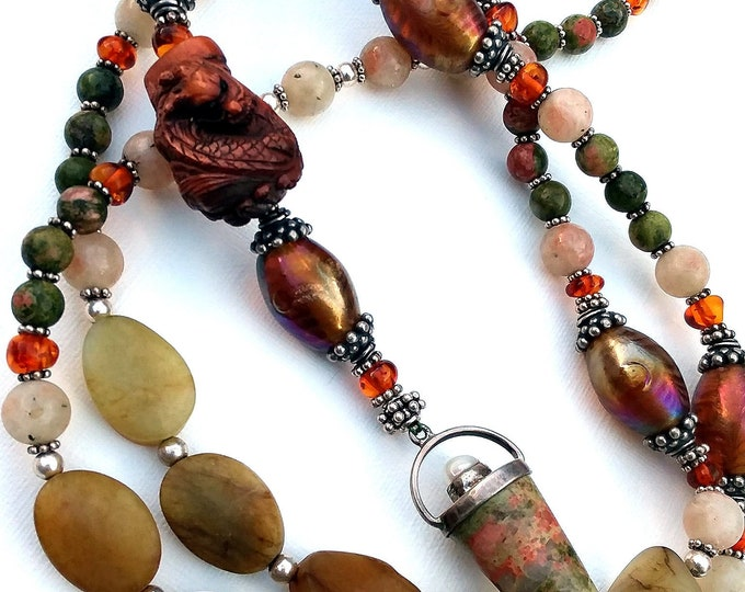 Hand Carved Netsuke Dragon & Old Jade Tunic Pendulum Necklace