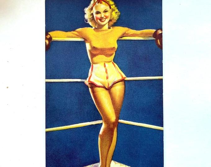 Vintage 1940s MUTOSCOPE Card - A Knockout - MP1 Mutoscope Poem Gil Elvgrin