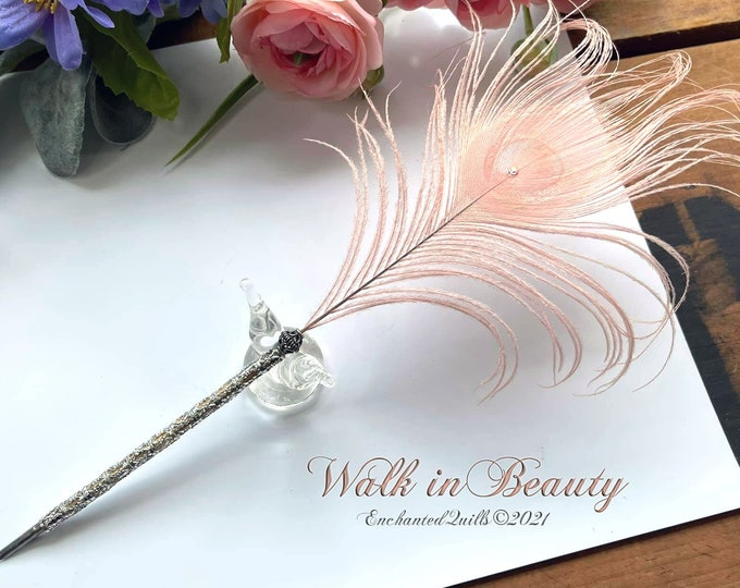 WALK IN BEAUTY Peacock Feather Artisan Crafted Quill Pen - Pink