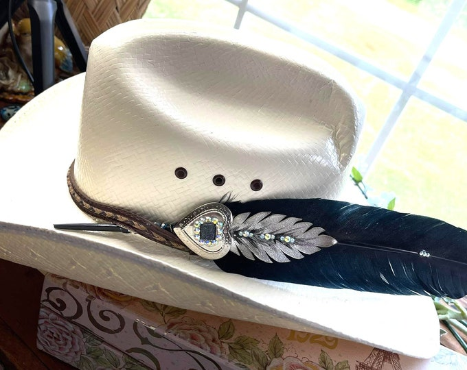 HAT FEATHER - Black Silver with Silver Heart Concho & Beadwork