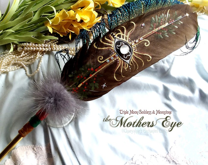 The MOTHERS EYE Triple Moon Goddess & Moonstone Feather Quill Pen - Dip Pen