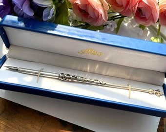 ANTIQUE ALTO Victorian Sterling Silver ORNATE Overlay Dip Pen - Aix-les-Bains France