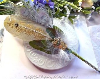 The DRAGONFLY QUEEN Feather Quill Dip Pen