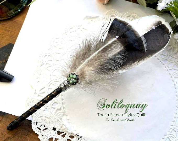 The SOLILOQUY Artisan Crafted Feather Quill IPAD Stylus Pen - iPad iPhone Kindle