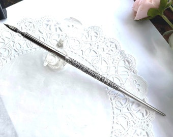 Antique 1890s Victorian ROCOCO ORNATE Sterling Silver Dip Pen - Calligraphy