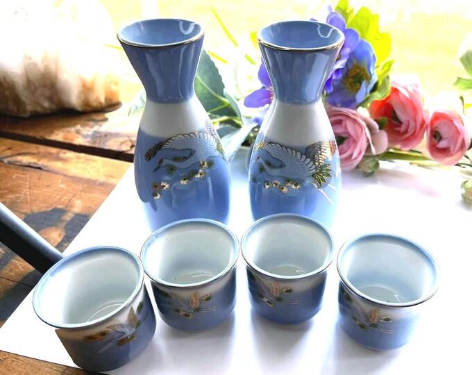 Vintage KUTANI Blue and White CRANE Bonsai Porcelain SAKE Set - 6 pieces
