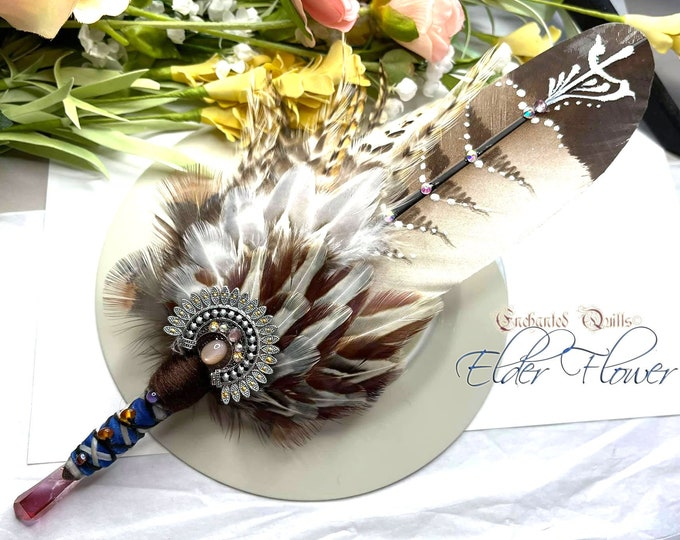 The ELDER FLOWER Prayer Feather Smudge Fan Wand - Goddess Tree