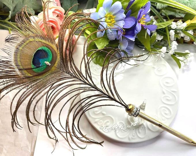 Golden PEACOCK Eye Feather & Crystals Rollerball Ballpoint Wedding Pen