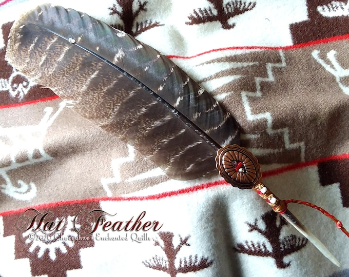 HAT FEATHER - Red with Copper Concho & Beadwork