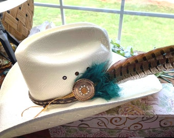 HAT FEATHER - Dbl Plume Pheasant Feathers with Copper Concho