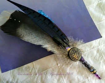 VIOLET DRAGON Prayer Feather Smudge Fan - Violet Banded Fluorite