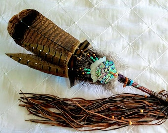 Abalone & Peyote Prayer Feather Smudge Fan