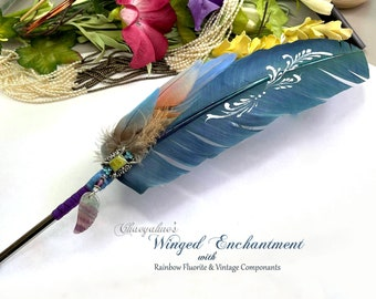 Teal WINGED ENCHANTMENT Feather Quill Pen - Dip Pen