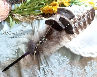 SILVER FOX Totem Feather Quill Pen - Dip Pen