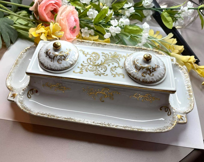 Lovely VINTAGE White Porcelain Double InkWell - Hand Painted Gold