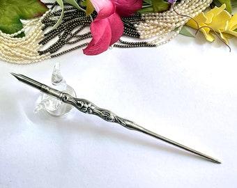 Gorgeous Antique PORTUGUESE Repousse Ornate LILY FLOWER Victorian Dip Pen - Calligraphy
