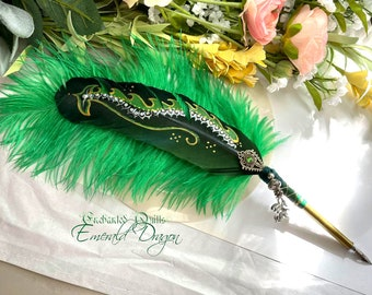 The EMERALD GREEN DRAGON Feather Quill Pen