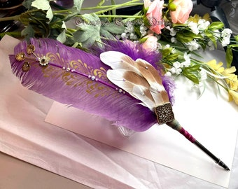 Fuschia GOLDEN WATERLILY Winged Enchantment Feather Quill Pen - Dip Pen