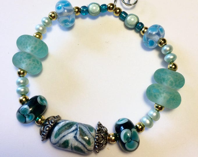 Mixed Ocean Beauties OOAK Lampwork Beads Pearls & Glass - Seafoam, Green, Teal, Aqua