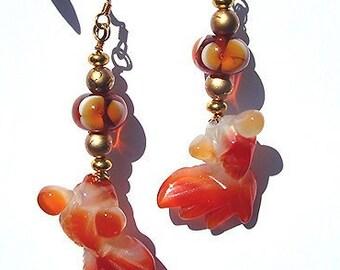DANCING GOLDFISH Lampwork & Carved Agate Drop Earrings