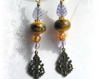 RAKU AMBER Baltic Amber & Ametrine Lampwork Earrings