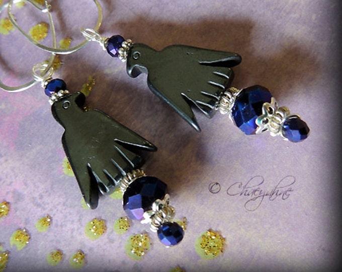 NIGHT BIRD Nightingale Hematite Bird Totem Fetish Earrings