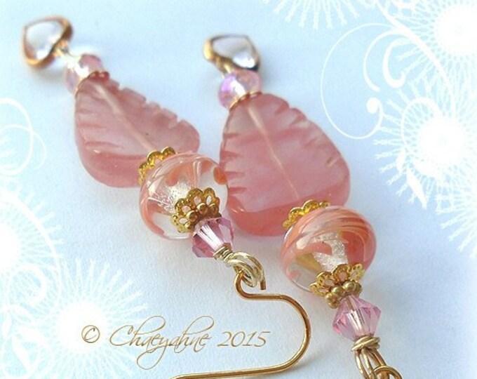Leaves of Lothlorian Lampwork Earrings by ChaeyAhne * Rose Quartz *