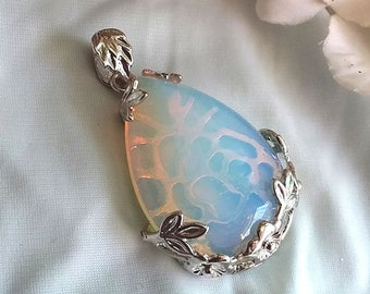 Beautiful Luminescent OPALITE Teardrop Pendant in Silver Floral Setting