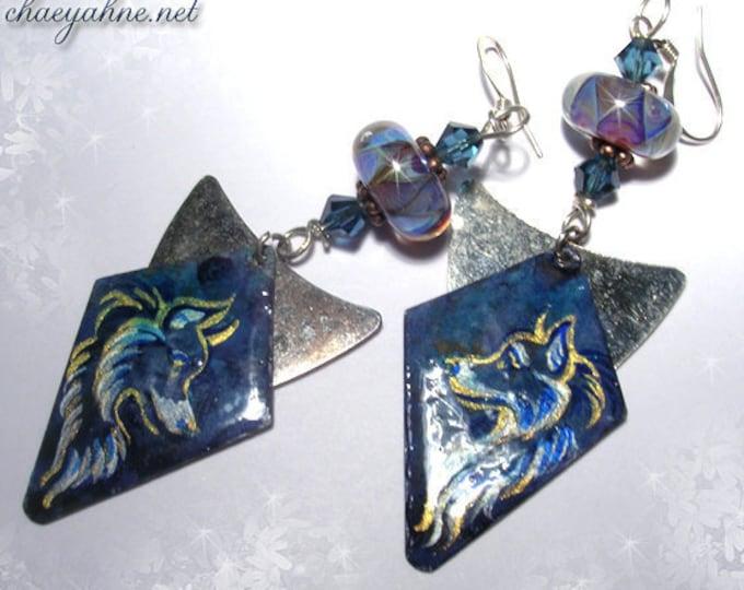 Lovely SHETLAND SHEEPDOG Lampwork Earrings - Hand Painted - Collie