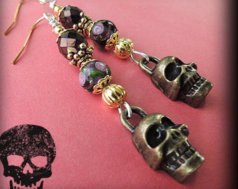 DAY of the DEAD Sugar Skull EARRINGS - Burnished Gold Dia di los Muertos