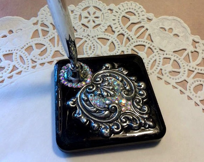 EDWARDIAN HEART OOAK Steampunk Quill Pen Holder - Black & Silver (Made to Order)