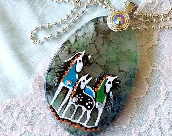 Family Herd Agate SPIRIT HORSE Pendant & Necklace - Folk Art Ponies