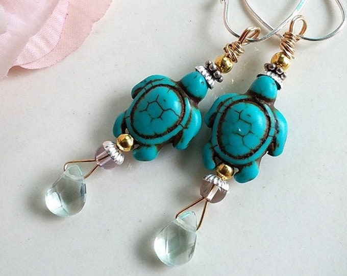 SEA TURTLES Turquoise Howlite Turtle Spirit Totem Earrings - Ametrine & Aquamarine