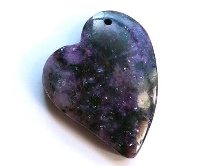 Natural Organic Plum Purple Violet LEPIDOLITE Heart Pendant Bead 34x38x6mm