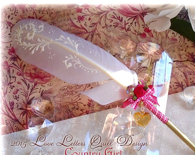 The COUNTRY GIRL Valentine Wedding Feather Quill Dip Pen - SALE
