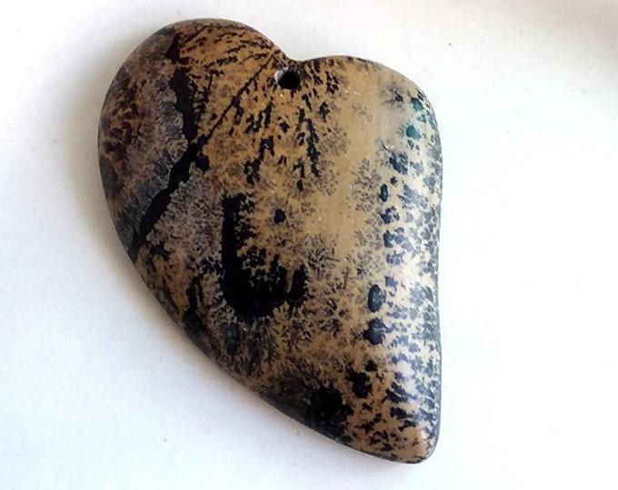 Natural Organic CHOHUA JASPER Heart Pendant Bead 47x33x7mm