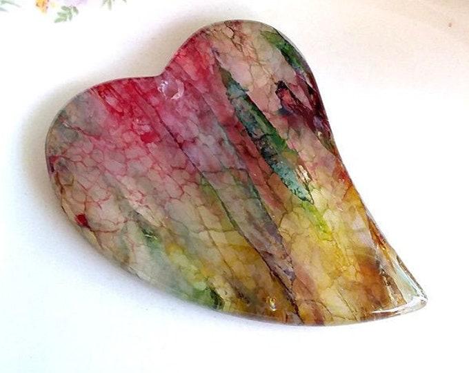 Rainbow DRUZY Geode Dragons Vein Heart Agate Pendant Bead 53x42x7mm