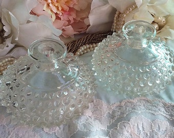 GORGEOUS Antique Glass Hobnail or Thousand Eye INKWELLS - Beautiful - Mint