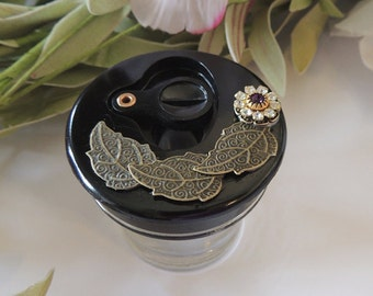 Lovely Gilded Floral OOAK Swing Top INKWELL