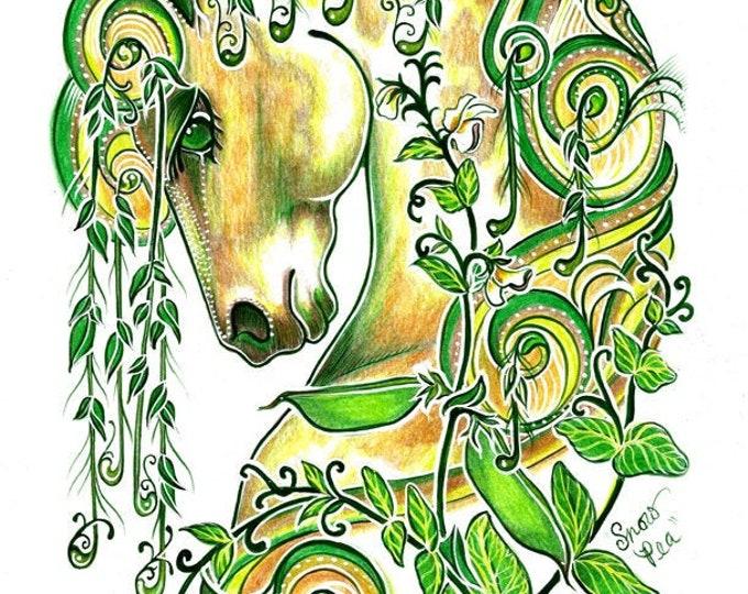 SNOW PEA Spirit Horse Multi Media Giclee Art Print - Heart of the Wild Senior Horse Sanctuary